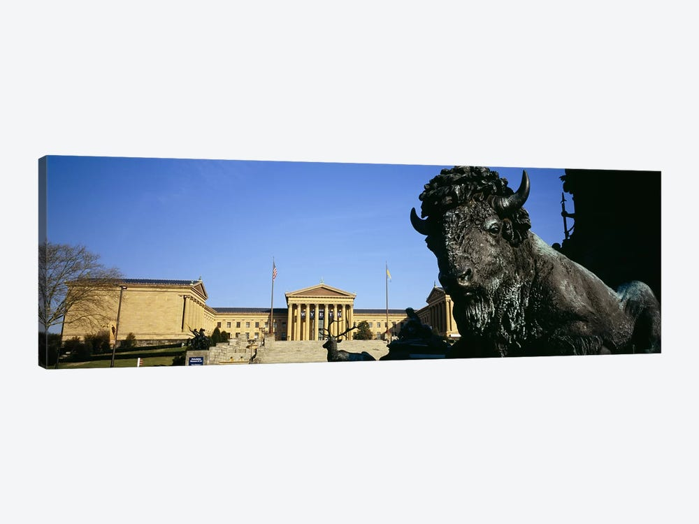 Close-up of a sculpture of a buffalo with a museum in the background, Philadelphia Museum Of Art, Philadelphia, Pennsylvania, US by Panoramic Images 1-piece Canvas Art Print