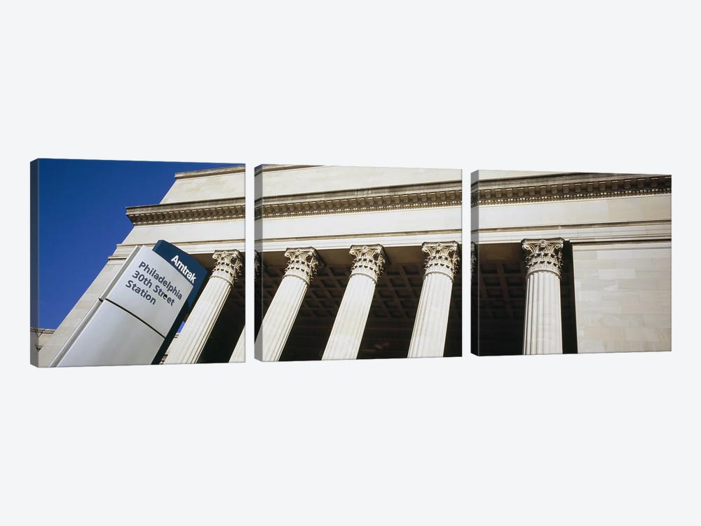 Low angle view of a building, 30th Street Station, Philadelphia, Pennsylvania, USA 3-piece Canvas Art