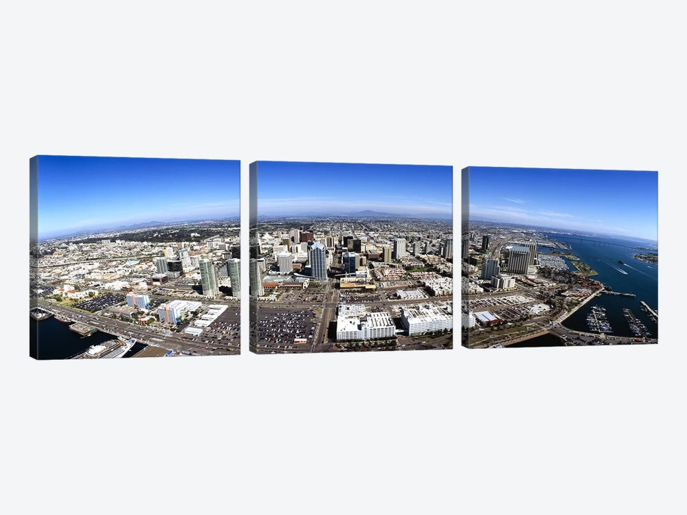 Aerial view of a city, San Diego, California, USA by Panoramic Images 3-piece Canvas Art