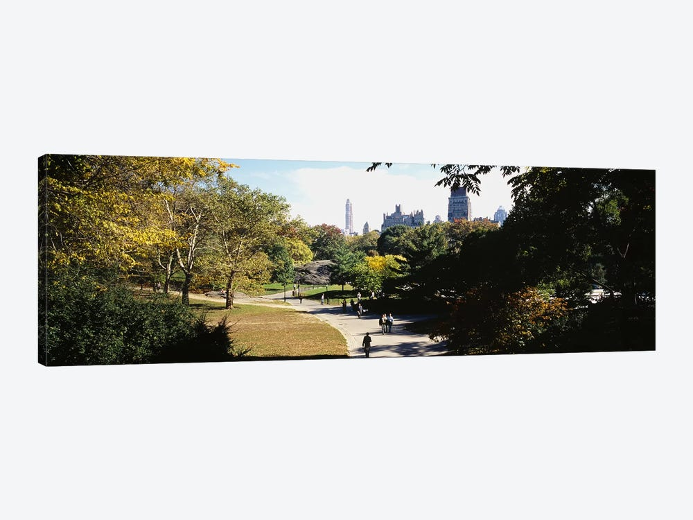 High angle view of a group of people walking in a park, Central Park, Manhattan, New York City, New York State, USA 1-piece Canvas Art