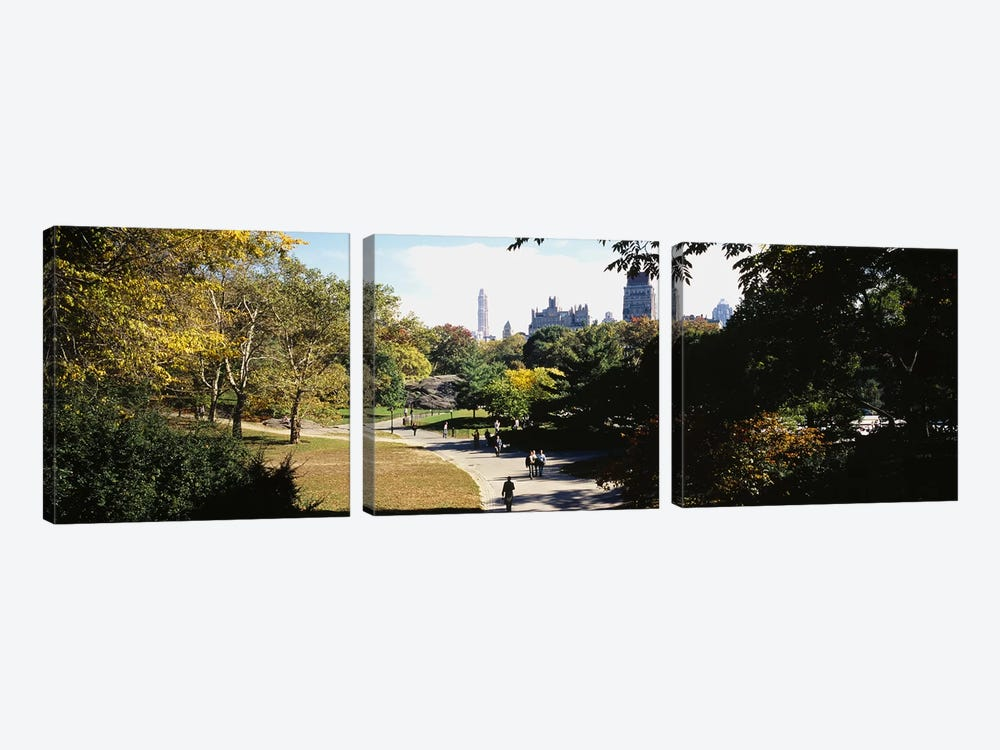 High angle view of a group of people walking in a park, Central Park, Manhattan, New York City, New York State, USA by Panoramic Images 3-piece Canvas Artwork
