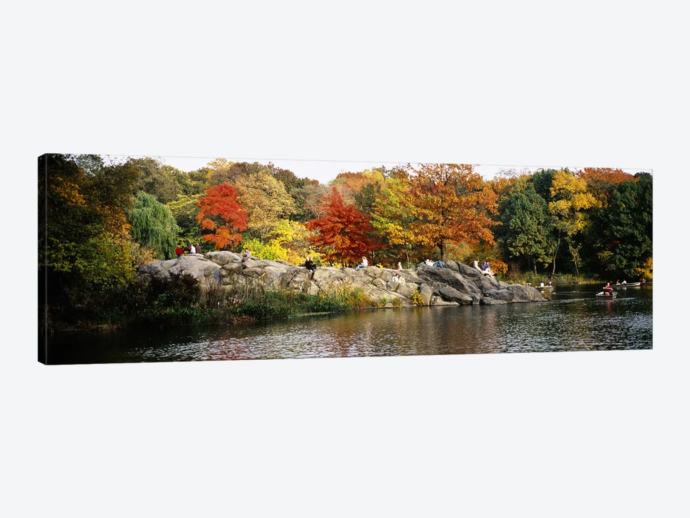 Group of people sitting on rocks, Central Park, Manhattan, New York City, New York, USA by Panoramic Images 1-piece Art Print