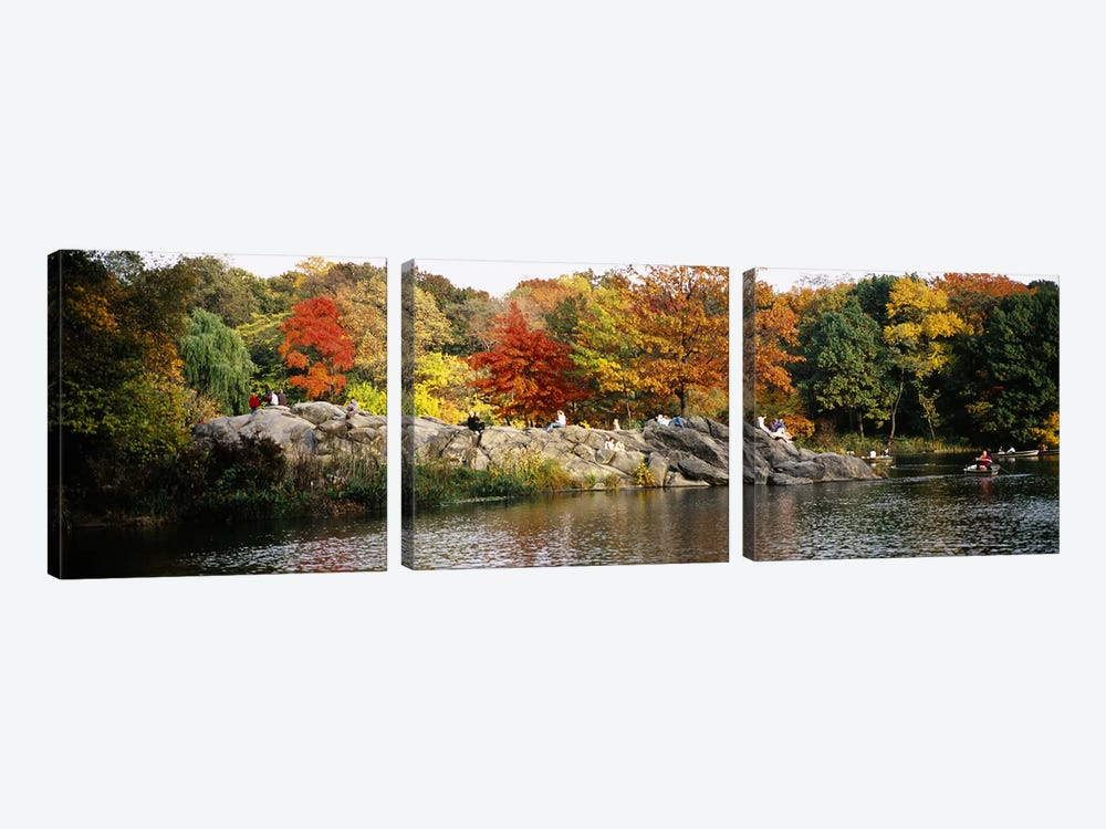 Group of people sitting on rocks, Central Park, Manhattan, New York City, New York, USA by Panoramic Images 3-piece Canvas Art Print