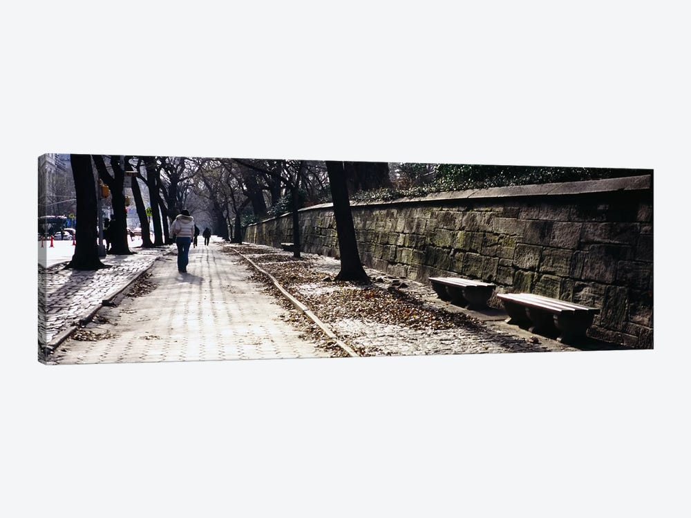 Rear view of a woman walking on a walkway, Central Park, Manhattan, New York City, New York, USA by Panoramic Images 1-piece Canvas Wall Art