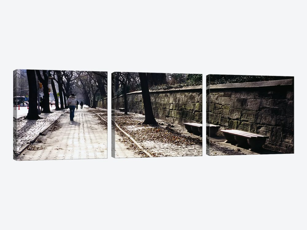 Rear view of a woman walking on a walkway, Central Park, Manhattan, New York City, New York, USA by Panoramic Images 3-piece Canvas Artwork