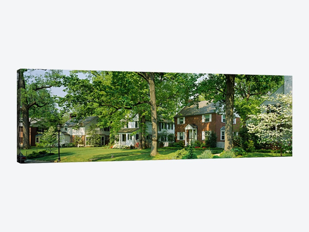 Facade Of Houses, Broadmoor Ave, Baltimore City, Maryland, USA by Panoramic Images 1-piece Canvas Artwork
