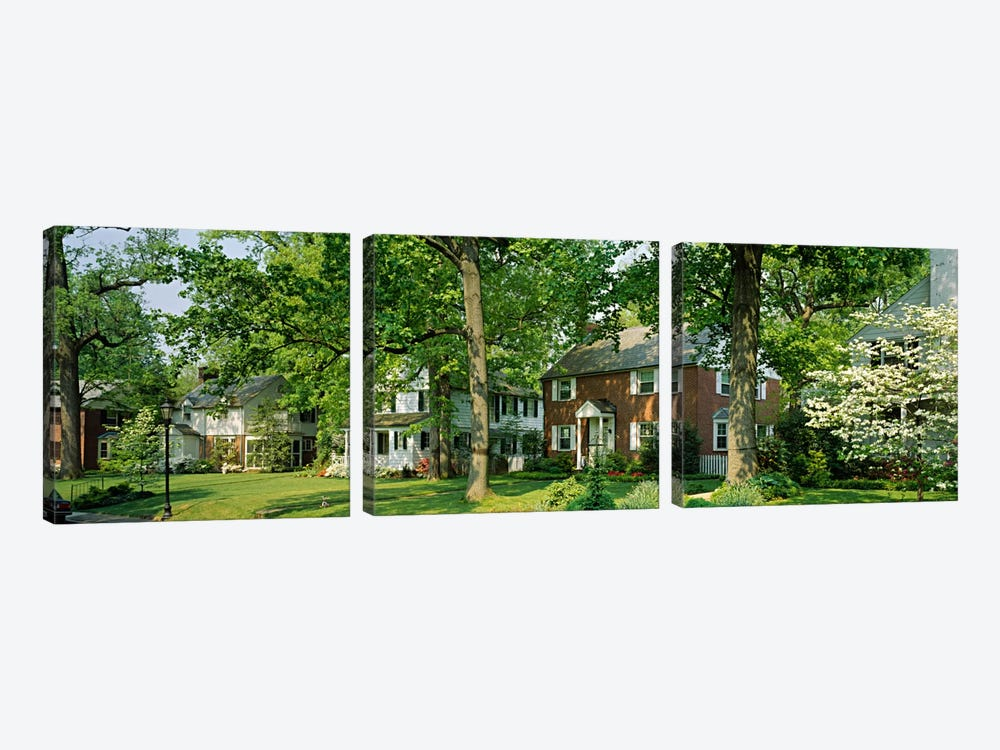 Facade Of Houses, Broadmoor Ave, Baltimore City, Maryland, USA by Panoramic Images 3-piece Canvas Art
