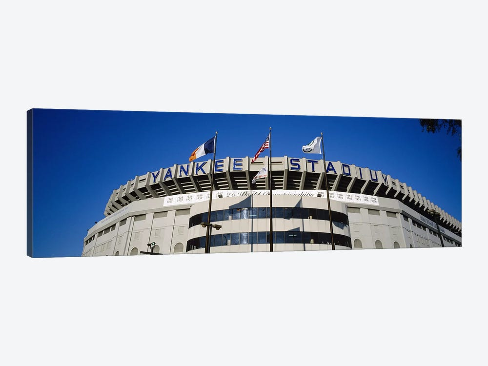 Flags in front of a stadium, Yankee Stadium, New York City, New York, USA #2 by Panoramic Images 1-piece Canvas Artwork