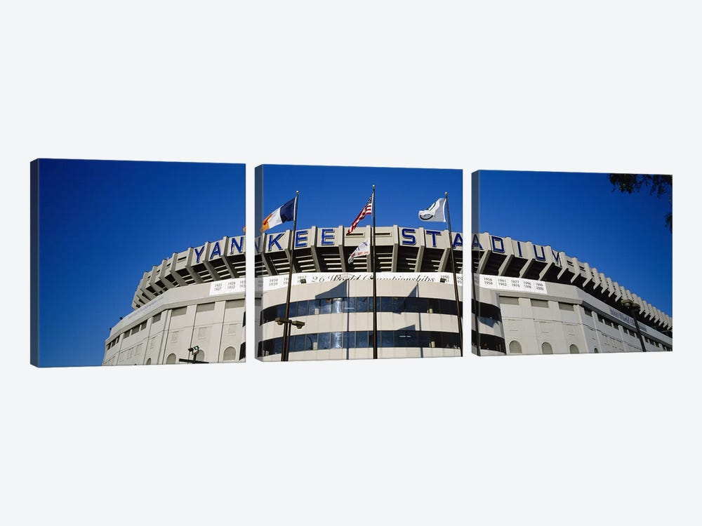 Flags in front of a stadium, Yankee Stadium, New York City, New York, USA #2 by Panoramic Images 3-piece Canvas Wall Art