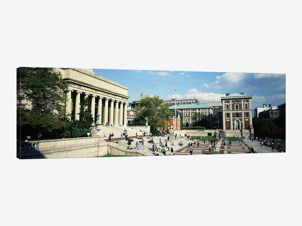 Group of people in front of a library, Library Of Columbia University, New York City, New York, USA by Panoramic Images 1-piece Canvas Artwork