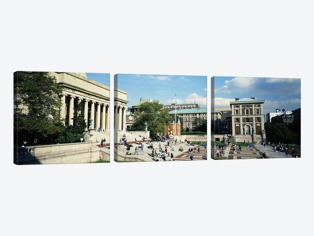 Group of people in front of a library, Library Of Columbia University, New York City, New York, USA by Panoramic Images 3-piece Canvas Artwork