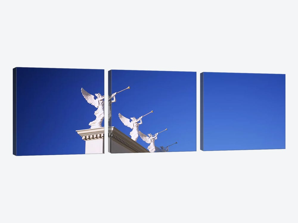 Low angle view of statues on a wall, Caesars Place, Las Vegas, Nevada, USA by Panoramic Images 3-piece Canvas Print