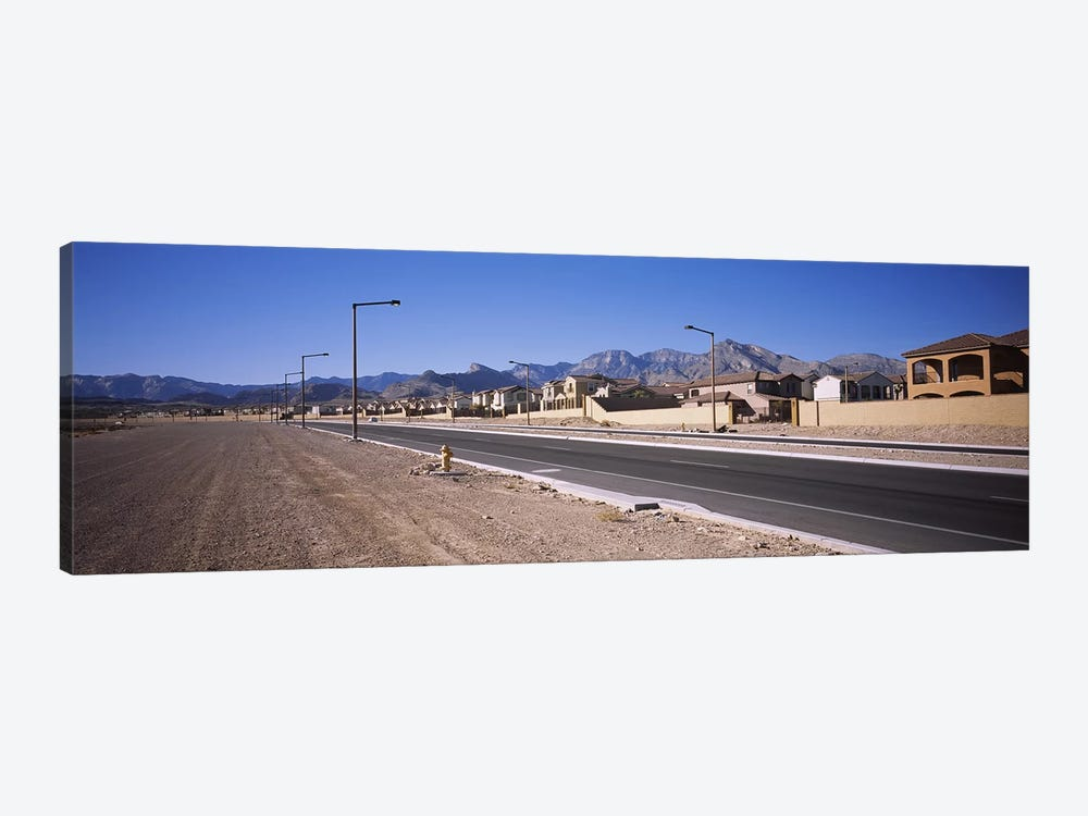Houses in a row along a road, Las Vegas, Nevada, USA by Panoramic Images 1-piece Canvas Wall Art