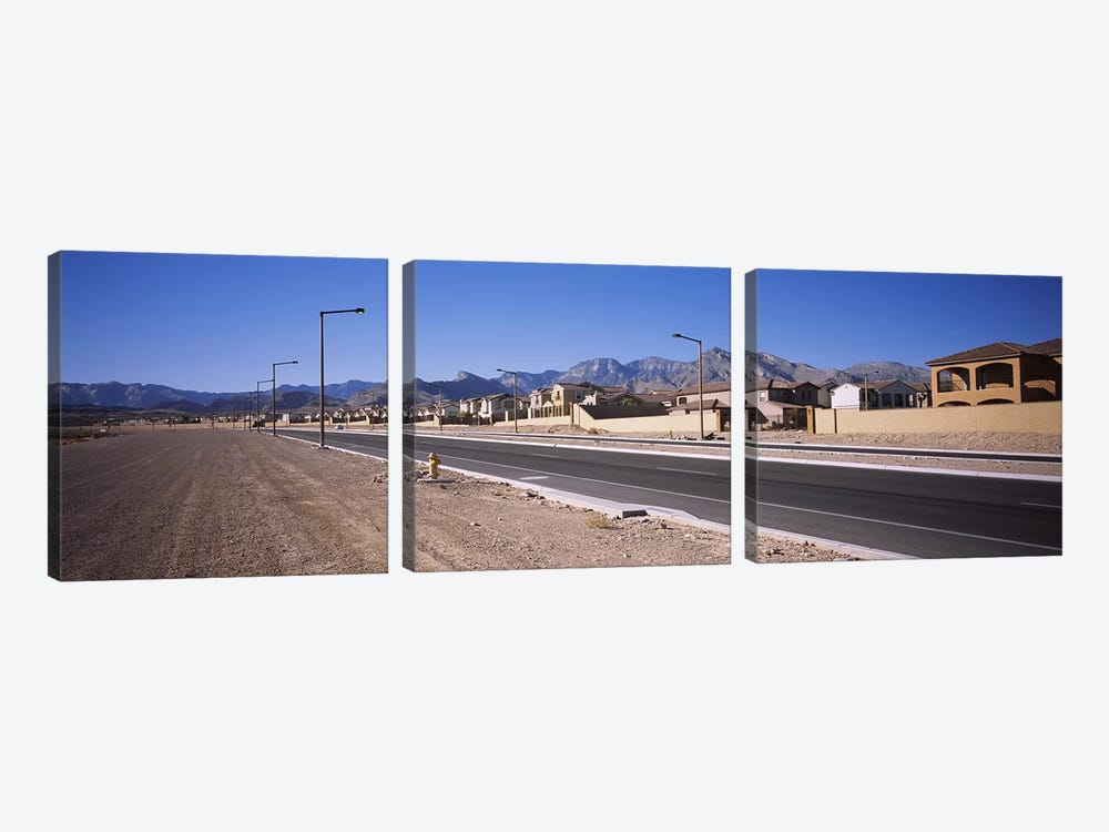 Houses in a row along a road, Las Vegas, Nevada, USA by Panoramic Images 3-piece Canvas Artwork