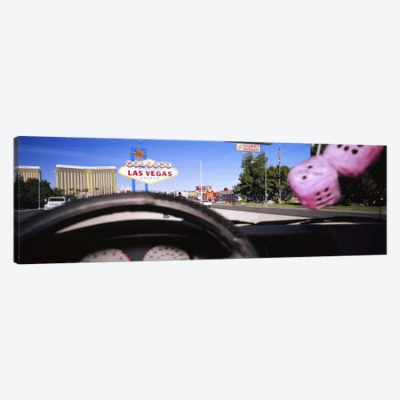 Welcome sign board at a road side viewed from a car, Las Vegas, Nevada, USA Canvas Print #PIM5608} by Panoramic Images Canvas Wall Art