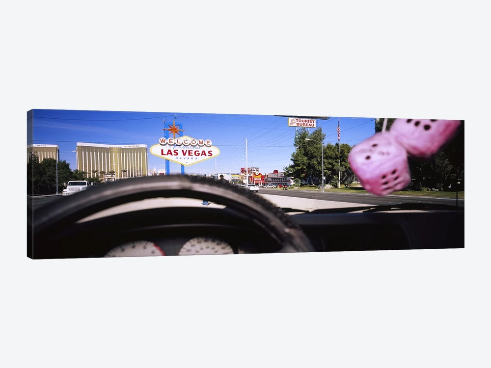 Welcome sign board at a road side viewed from a car, Las Vegas, Nevada, USA by Panoramic Images 1-piece Canvas Artwork