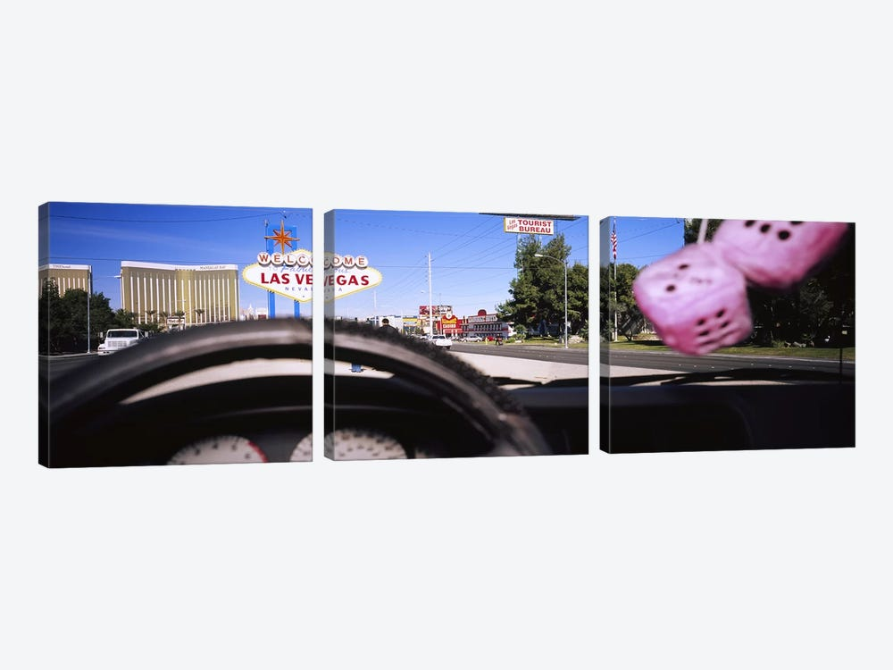 Welcome sign board at a road side viewed from a car, Las Vegas, Nevada, USA by Panoramic Images 3-piece Canvas Artwork