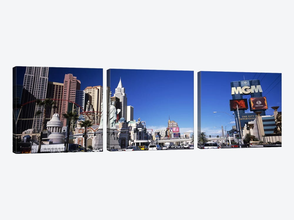 Buildings in a city, The Strip, Las Vegas, Nevada, USA by Panoramic Images 3-piece Canvas Wall Art