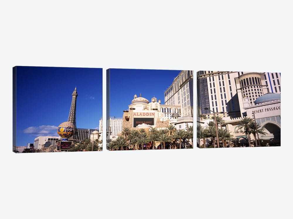 Hotel in a city, Aladdin Resort And Casino, The Strip, Las Vegas, Nevada, USA by Panoramic Images 3-piece Canvas Print