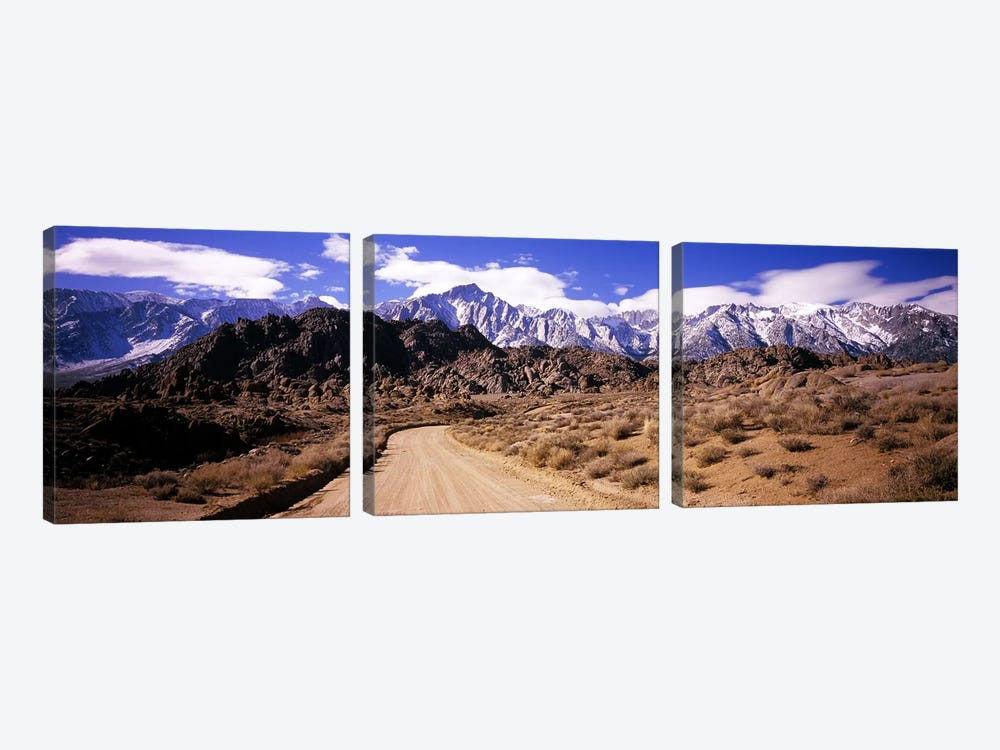 Mountainside Dirt Road Near Lone Pine Peak, Sierra Nevada, California, USA by Panoramic Images 3-piece Canvas Artwork