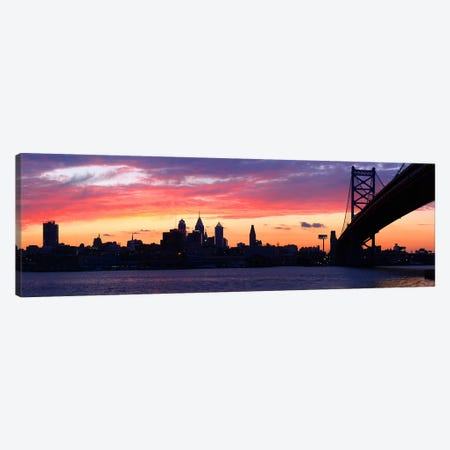 Silhouette of a suspension bridge across a river, Ben Franklin Bridge, Delaware River, Philadelphia, Pennsylvania, USA Canvas Print #PIM5618} by Panoramic Images Art Print