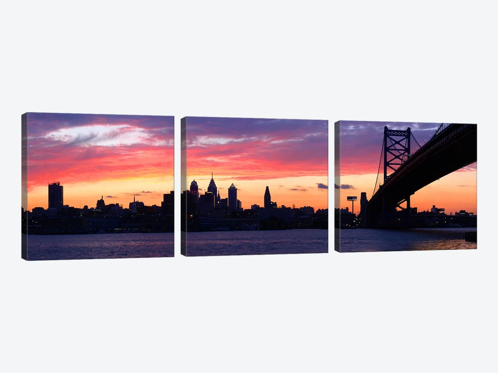Silhouette of a suspension bridge across a river, Ben Franklin Bridge, Delaware River, Philadelphia, Pennsylvania, USA 3-piece Canvas Art Print