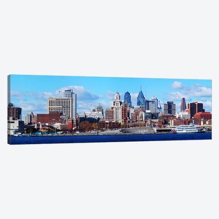 Panoramic view of a city at the waterfront, Delaware River, Philadelphia, Pennsylvania, USA Canvas Print #PIM5619} by Panoramic Images Art Print