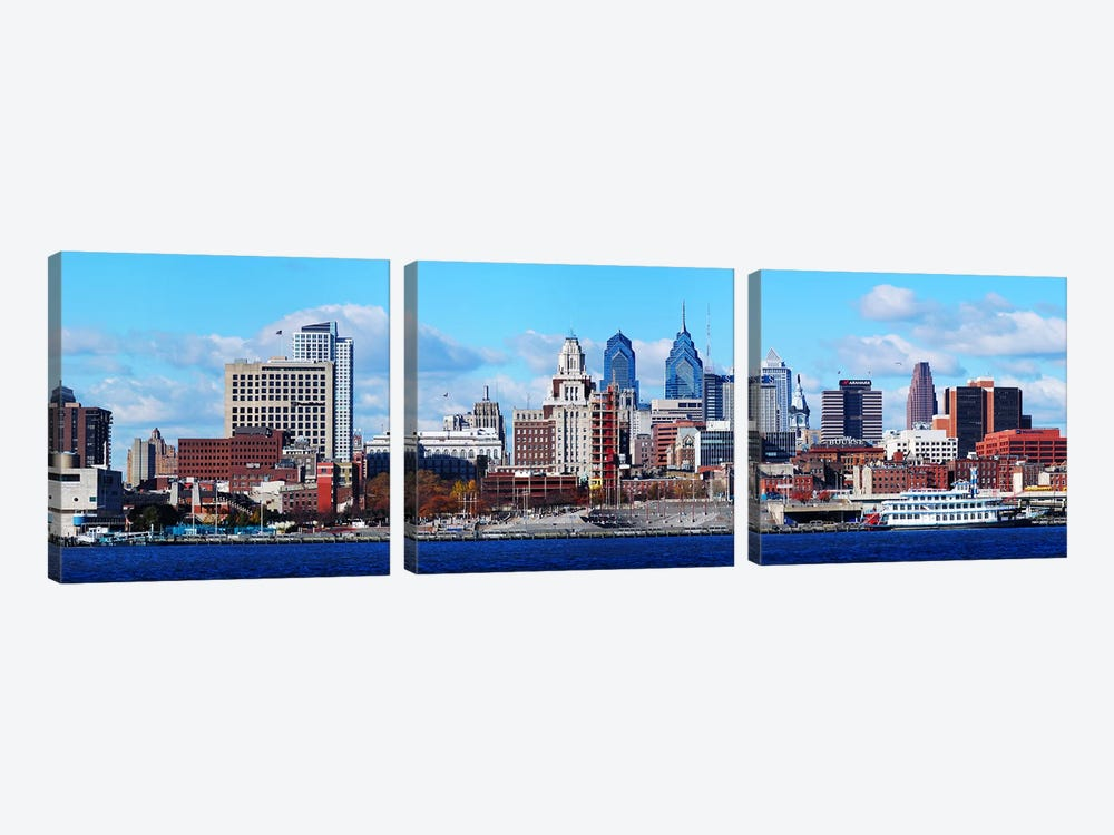 Panoramic view of a city at the waterfront, Delaware River, Philadelphia, Pennsylvania, USA by Panoramic Images 3-piece Canvas Wall Art