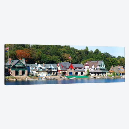 Boathouse Row at the waterfront, Schuylkill River, Philadelphia, Pennsylvania, USA Canvas Print #PIM5620} by Panoramic Images Canvas Artwork