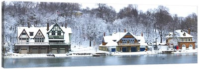 Boathouse Row at the waterfront, Schuylkill River, Philadelphia, Pennsylvania, USA Canvas Art Print