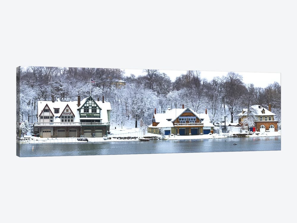 Boathouse Row at the waterfront, Schuylkill River, Philadelphia, Pennsylvania, USA by Panoramic Images 1-piece Canvas Print