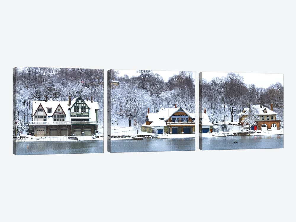 Boathouse Row at the waterfront, Schuylkill River, Philadelphia, Pennsylvania, USA by Panoramic Images 3-piece Canvas Art Print