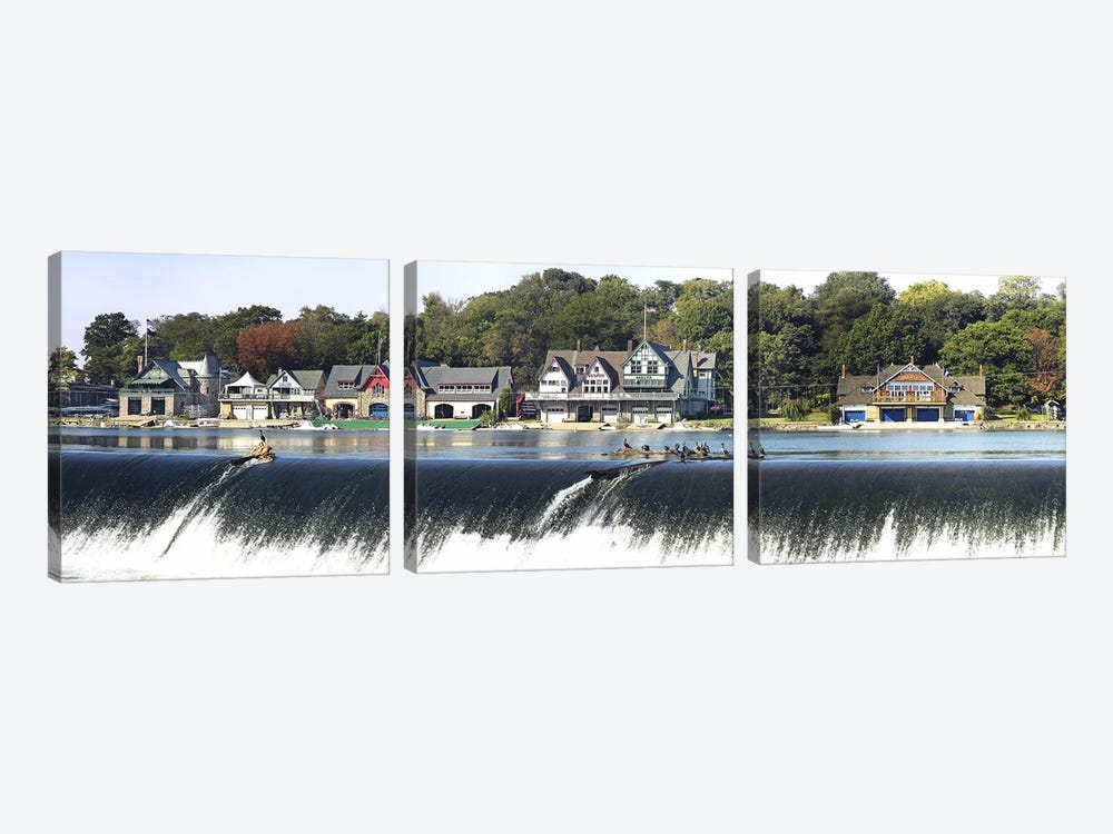 Boathouse Row at the waterfront, Schuylkill River, Philadelphia, Pennsylvania, USA #2 by Panoramic Images 3-piece Canvas Wall Art