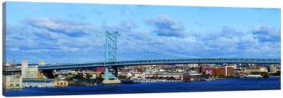 Suspension bridge across a river, Ben Franklin Bridge, Delaware River, Philadelphia, Pennsylvania, USA Canvas Print #PIM5623