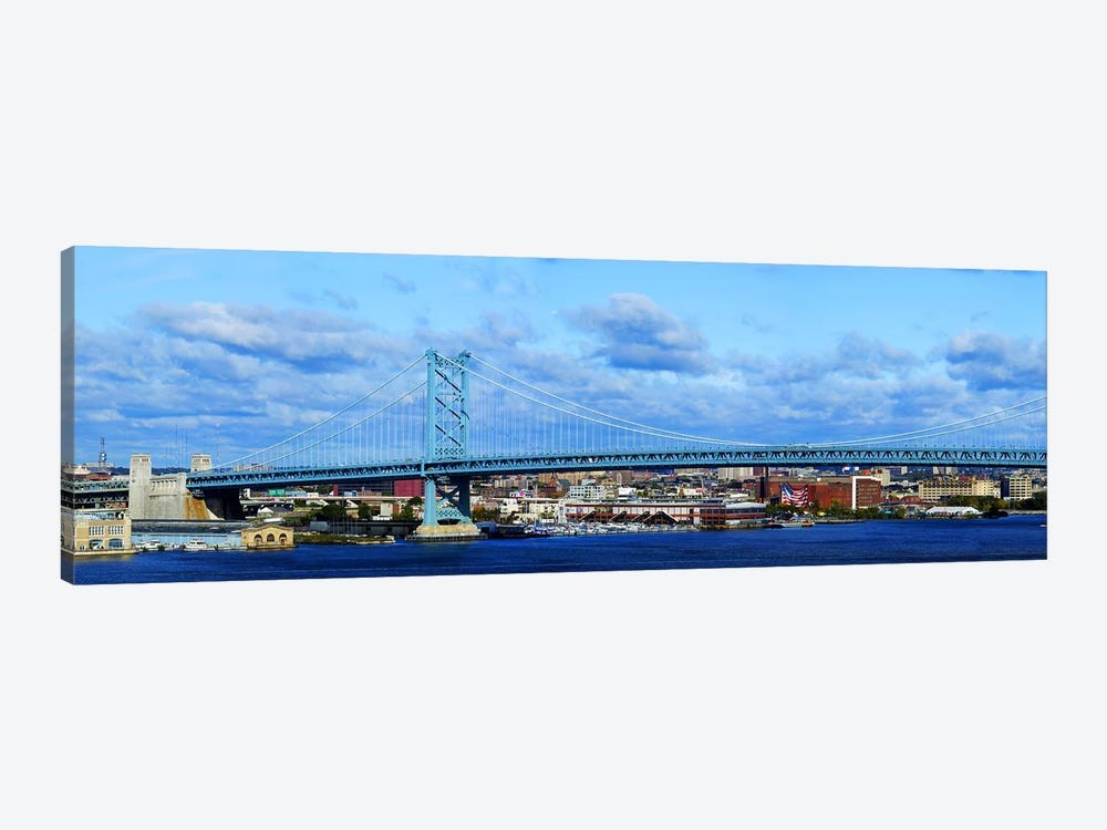 Suspension bridge across a river, Ben Franklin Bridge, Delaware River, Philadelphia, Pennsylvania, USA by Panoramic Images 1-piece Canvas Print