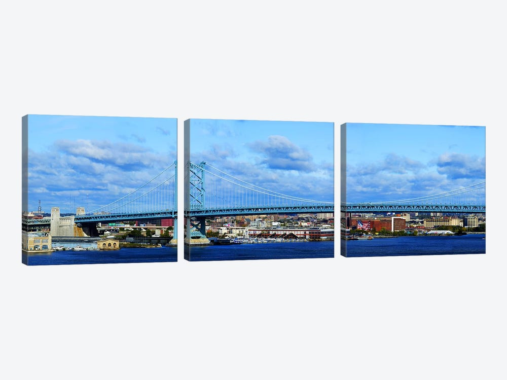 Suspension bridge across a river, Ben Franklin Bridge, Delaware River, Philadelphia, Pennsylvania, USA by Panoramic Images 3-piece Canvas Art Print