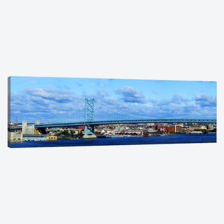 Suspension bridge across a river, Ben Franklin Bridge, Delaware River, Philadelphia, Pennsylvania, USA Canvas Print #PIM5623} by Panoramic Images Canvas Wall Art