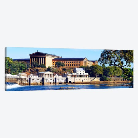 Art museum at the waterfront, Philadelphia Museum Of Art, Schuylkill River, Philadelphia, Pennsylvania, USA Canvas Print #PIM5624} by Panoramic Images Art Print