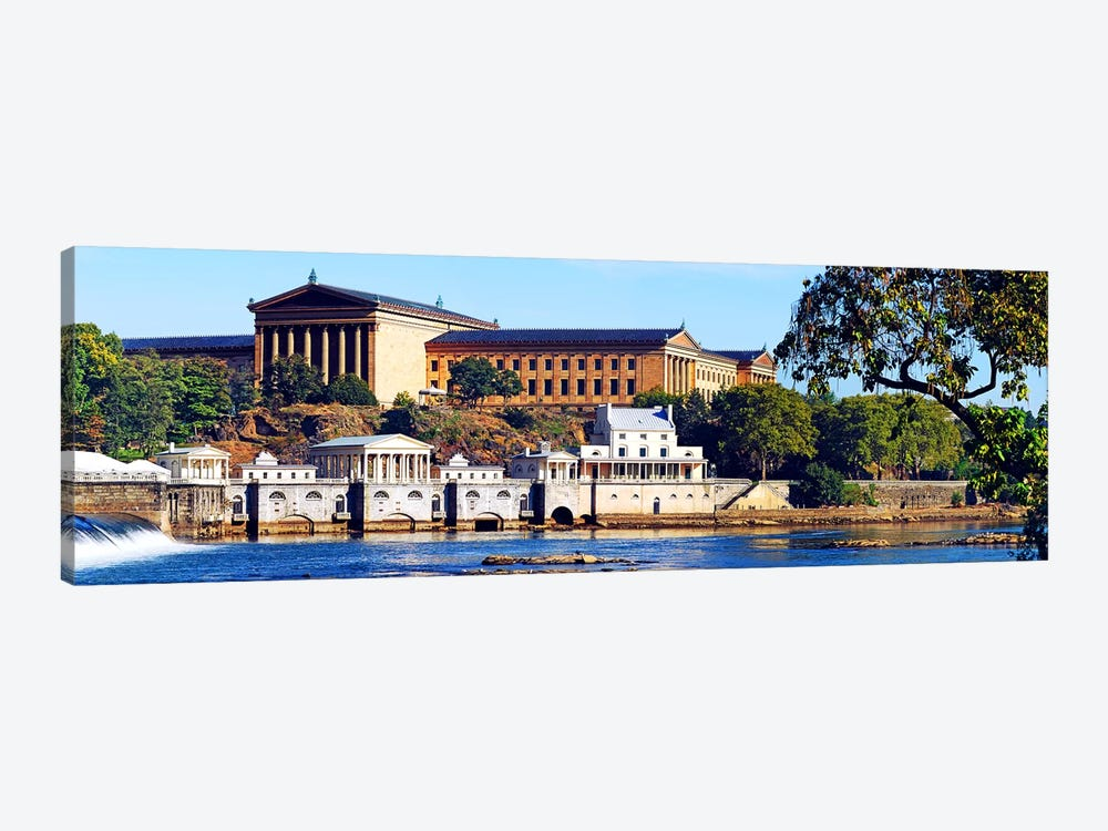 Art museum at the waterfront, Philadelphia Museum Of Art, Schuylkill River, Philadelphia, Pennsylvania, USA by Panoramic Images 1-piece Canvas Artwork