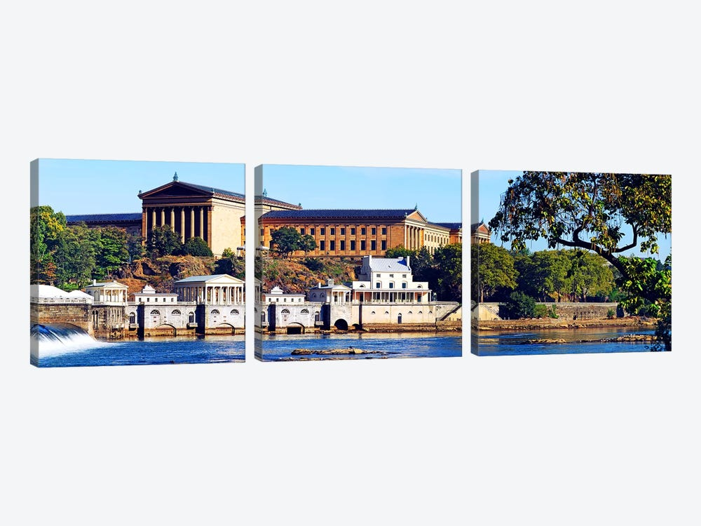 Art museum at the waterfront, Philadelphia Museum Of Art, Schuylkill River, Philadelphia, Pennsylvania, USA by Panoramic Images 3-piece Canvas Art