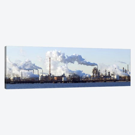 Smoke Emanating From A Waterfront Oil Refinery On The Delaware River Near New Jersey Canvas Print #PIM5625} by Panoramic Images Canvas Art Print