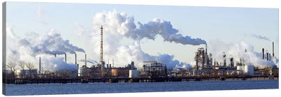 Smoke Emanating From A Waterfront Oil Refinery On The Delaware River Near New Jersey Canvas Art Print