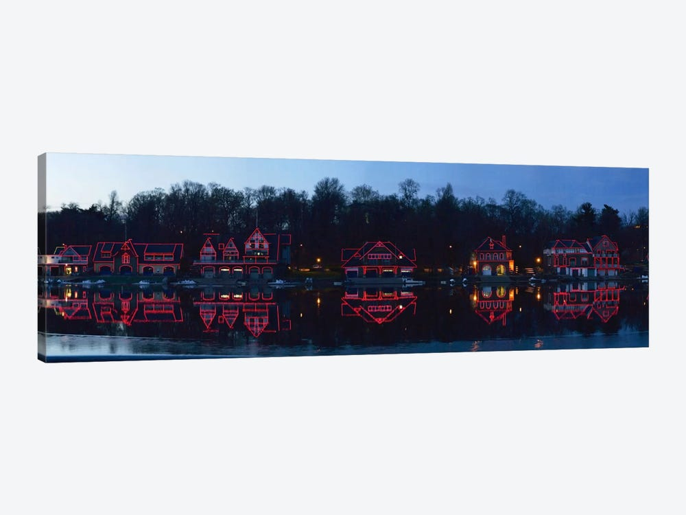 Boathouse at the waterfront, Schuylkill River, Philadelphia, Pennsylvania, USA by Panoramic Images 1-piece Canvas Art