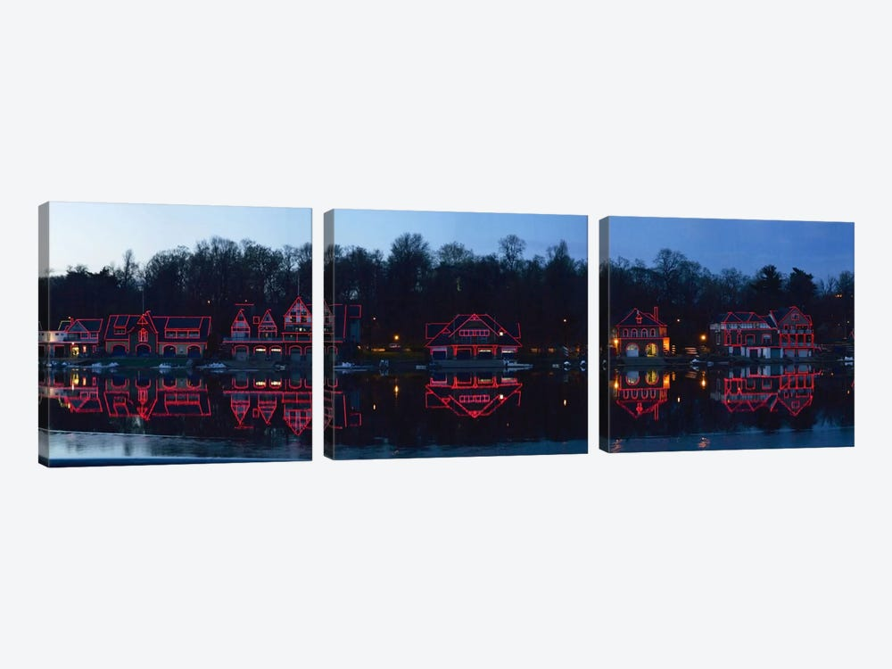 Boathouse at the waterfront, Schuylkill River, Philadelphia, Pennsylvania, USA by Panoramic Images 3-piece Canvas Art