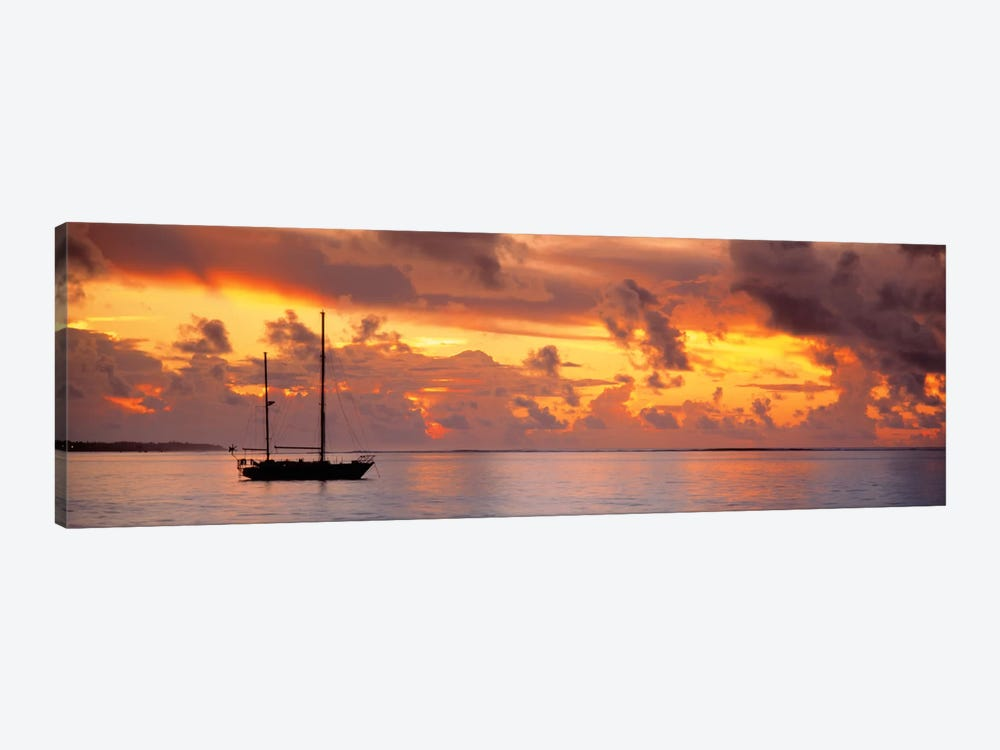 Boat at sunset 1-piece Canvas Art