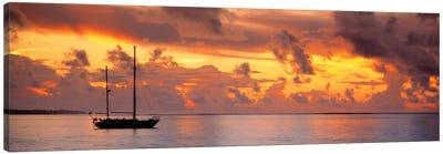 Boat at sunset  Canvas Art Print