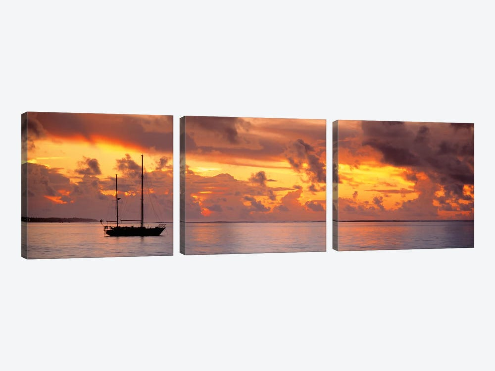 Boat at sunset  3-piece Canvas Wall Art