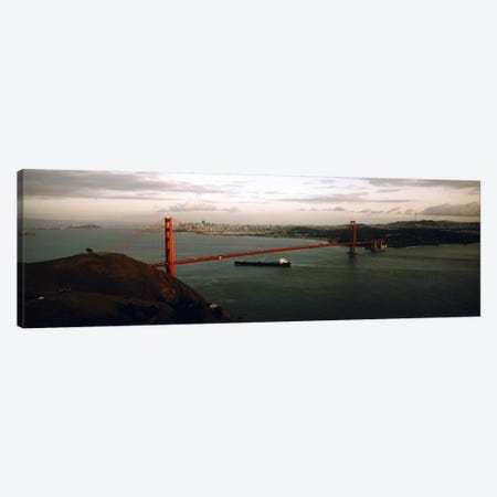 Barge passing under a bridge, Golden Gate Bridge, San Francisco, California, USA Canvas Print #PIM5638} by Panoramic Images Canvas Art Print