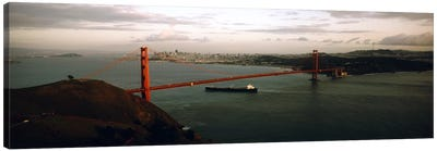 Barge passing under a bridge, Golden Gate Bridge, San Francisco, California, USA Canvas Print #PIM5638