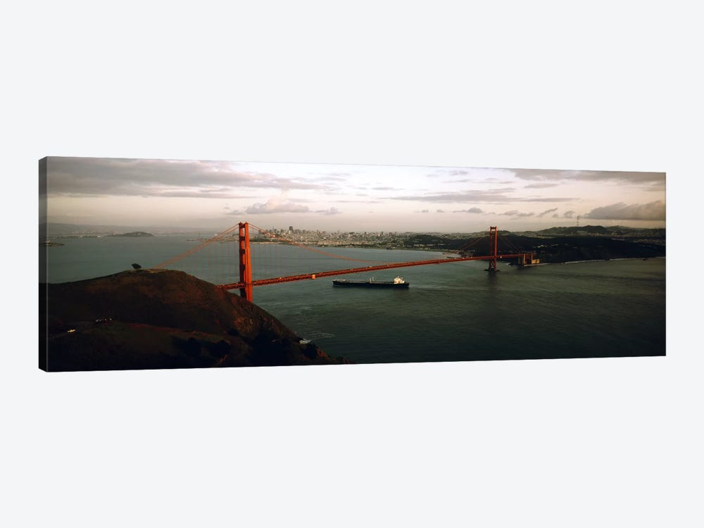 Barge passing under a bridge, Golden Gate Bridge, San Francisco, California, USA by Panoramic Images 1-piece Art Print